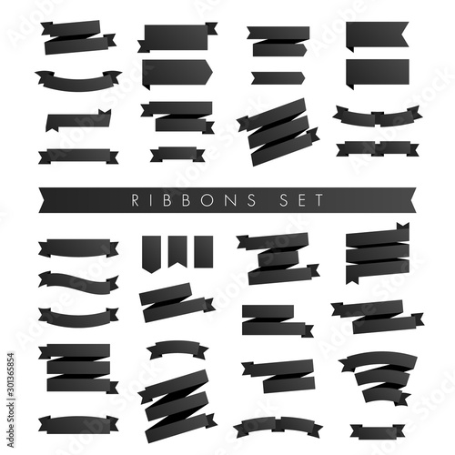 Fototapety, obrazy: Modern minimalist set of black ribbons isolated on white Background with place for text. Vector Illustration