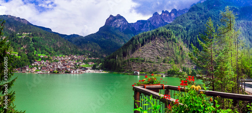 Idyllic nature scenery - Wonderful lake Lago di Alleghe in Dolomite mountains, north of Italy