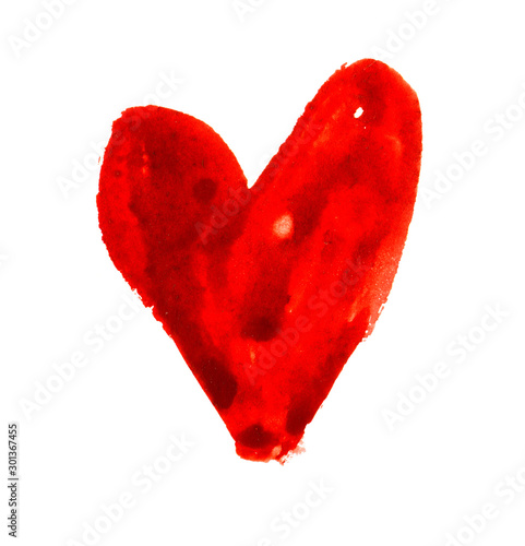 Cuadros en Lienzo Hand drawn watercolor red heart, element for design