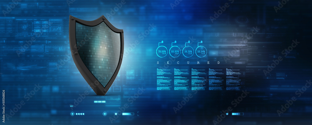 Fototapeta 3d illustration Security concept - shield