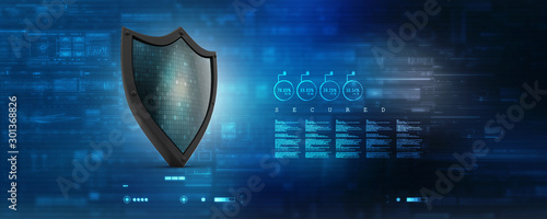 Fotografía 3d illustration Security concept - shield