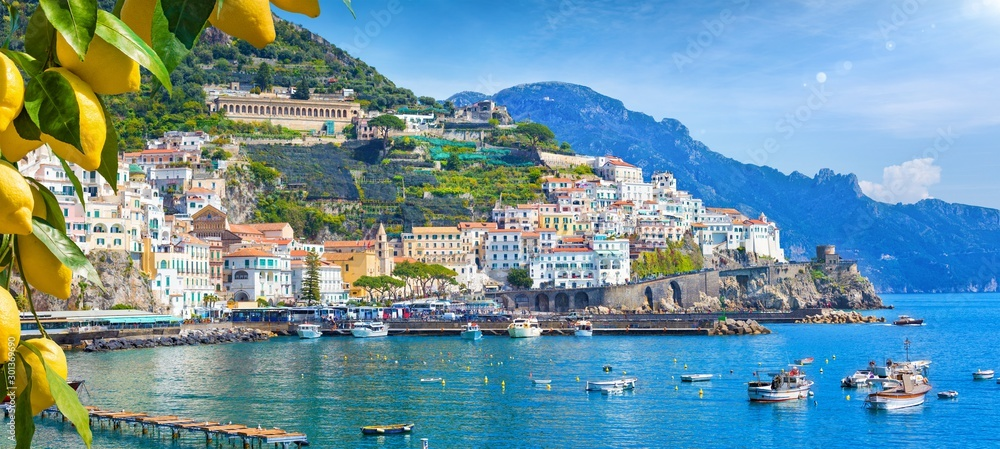 Fototapety, obrazy: Panoramic view of beautiful Amalfi on hills leading down to coast, Campania, Italy. Amalfi coast is most popular travel and holiday destination in Europe.