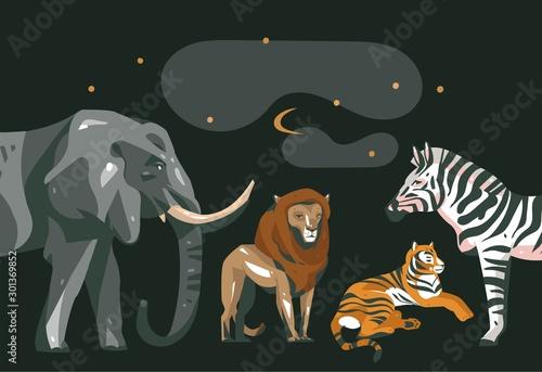 Hand drawn vector abstract cartoon modern graphic African Safari collage illustr Wallpaper Mural