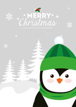 Merry Christmas Poster With Penguin In Winter Landscape Vector Illustration Design