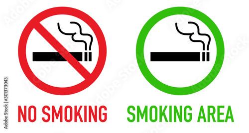 Photo 禁煙と喫煙可のサインセット