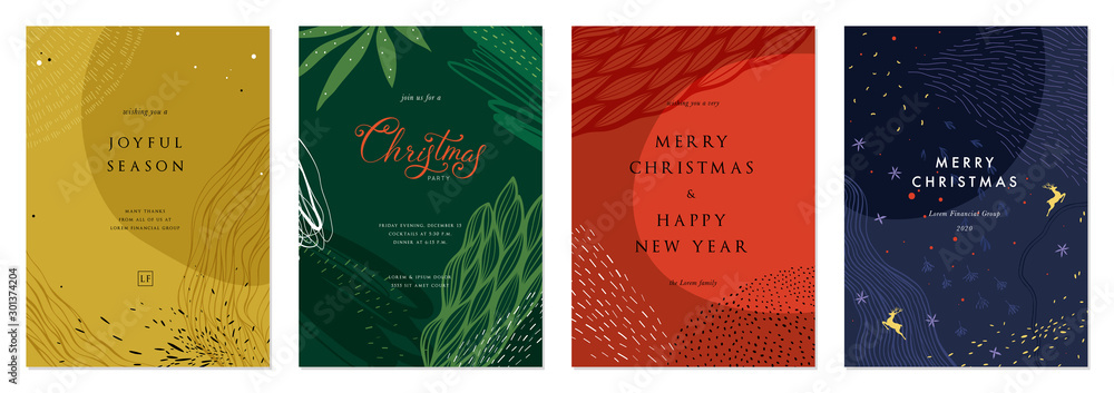 Fototapety, obrazy: Merry Christmas and Bright Corporate Holiday cards.