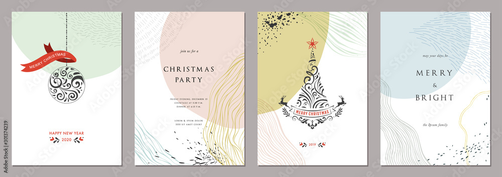 Fototapety, obrazy: Merry Christmas and Bright Corporate Holiday cards. Modern abstract creative universal artistic templates.
