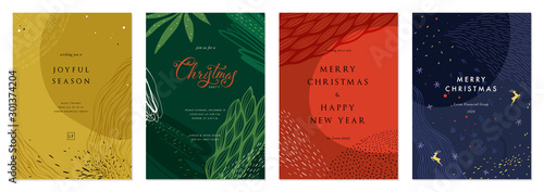 Fototapeta Merry Christmas and Bright Corporate Holiday cards. obraz