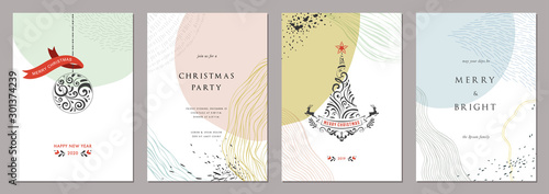 Fototapeta Merry Christmas and Bright Corporate Holiday cards. Modern abstract creative universal artistic templates. obraz na płótnie