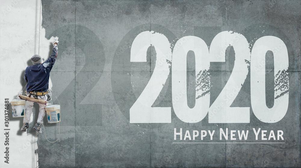 Fototapeta Happy New Year 2020 on facade