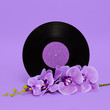 canvas print picture Vinyl and purple flower. Retro minimal mood