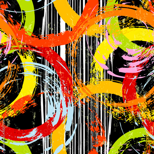 seamless background pattern, with circles, stripes, paint strokes and splashes, on black