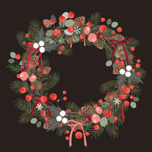 Beautiful Christmas Decorative Wreath Of Pine Branches, Berries, Ilex, Cedar And Pine Cones Over White Background. Vector Illustration