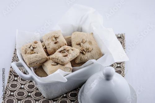 Valokuva Crackers integrali con semi di girasole