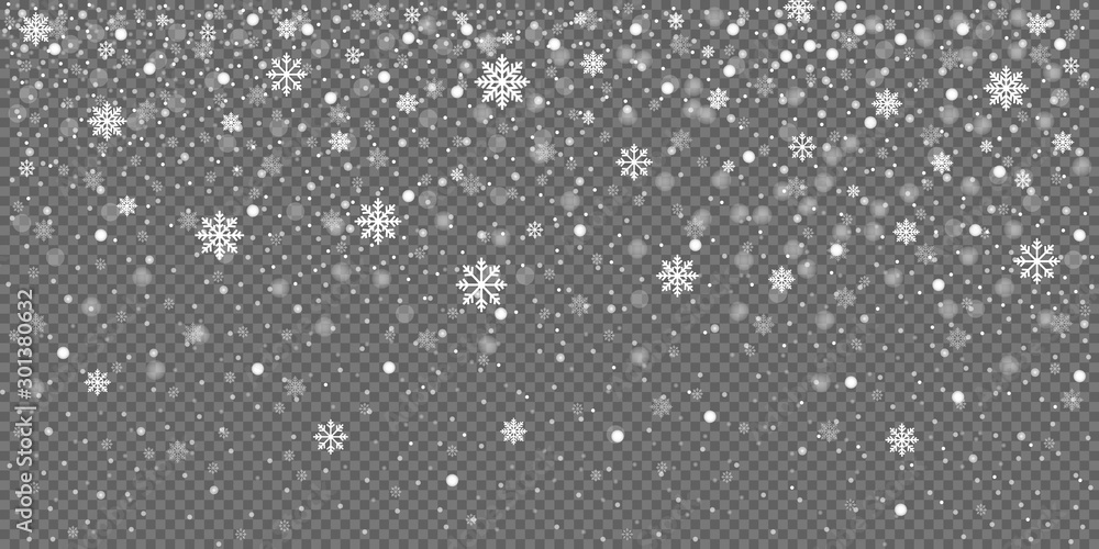 Fototapeta Christmas snow falling snowflakes isolated on transparent background vector illustration. EPS 10