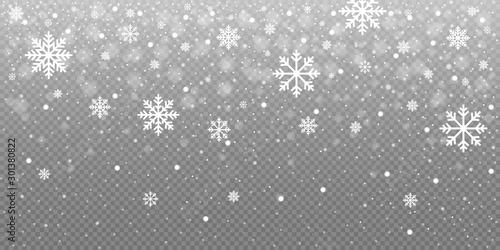 Fototapeta Christmas snow falling snowflakes isolated on transparent background vector illustration. EPS 10 obraz na płótnie