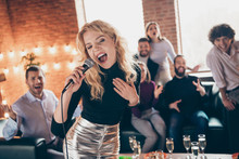 Photo Of Best Friends Clapping Hands Celebrating Newyear Party Blond Lady Singing Karaoke Song Hold Microphone Wear Formalwear Restaurant Indoors