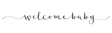 WELCOME BABY Black Vector Brush Calligraphy Banner With Swashes