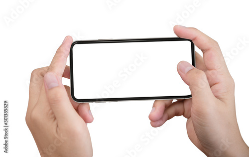 Cuadros en Lienzo Smartphone in female hands taking photo isolated on white blackground