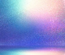 Wonderful Glitter Studio Abstract Illustration. Shimmer Wall And Floor 3d Background. Blue Pink Lilac Glitter Room Interior. Magical Holiday Style.