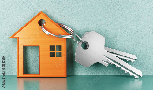 Mortgage, investment, real estate and property concept - close up of house keys Wallpaper Mural