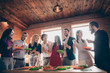 Leinwanddruck Bild - Portrait of nice attractive smart lovely cheerful cheery glad guys colleagues celebrating birthday spending festive tradition at modern industrial brick wood loft style interior office house indoors