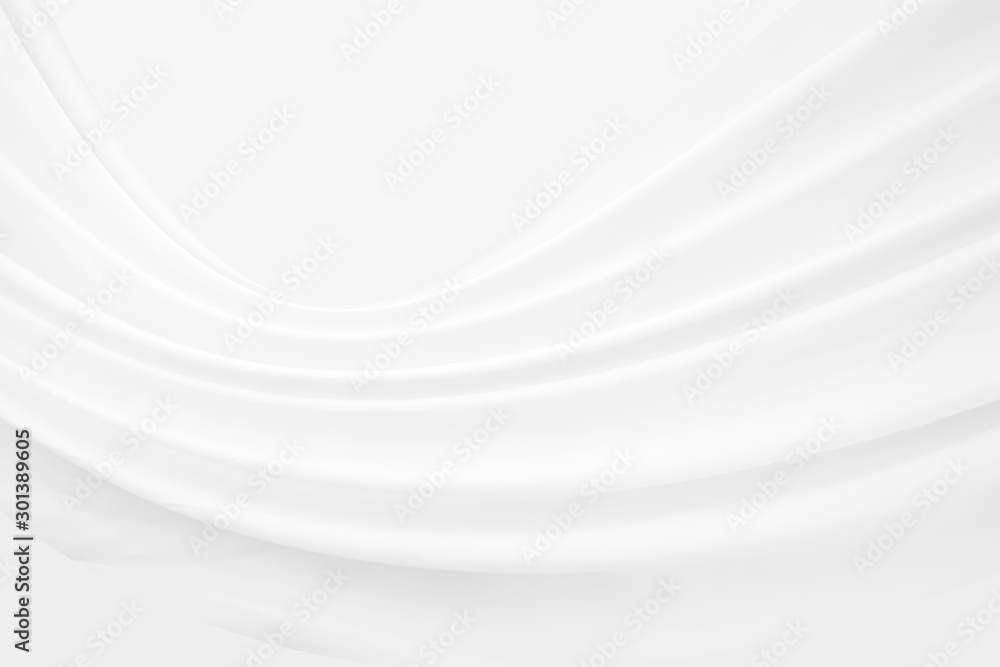 Fototapety, obrazy: White cloth background abstract with fabric soft waves