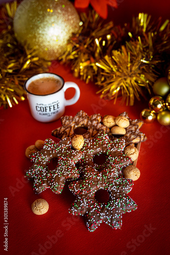 christmas background with tree and decorations Wallpaper Mural
