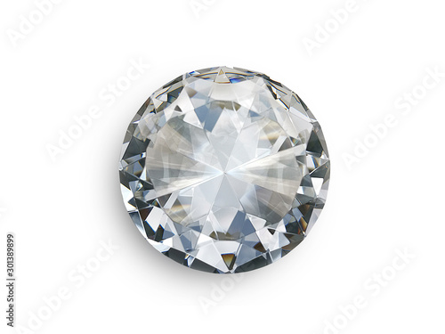 Dazzling diamond on white background Tableau sur Toile