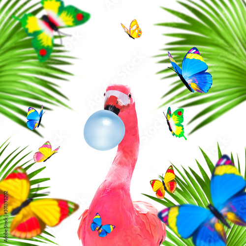 Foto op Plexiglas Crazy dog summer paradise vacation flamingo