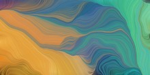 Abstract Fractal Swirl Waves. Can Be Used As Wallpaper, Background Graphic Or Texture. Graphic Illustration With Blue Chill, Peru And Teal Blue Colors