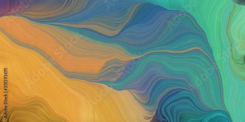 In de dag Abstract wave abstract fractal swirl waves. can be used as wallpaper, background graphic or texture. graphic illustration with blue chill, peru and teal blue colors