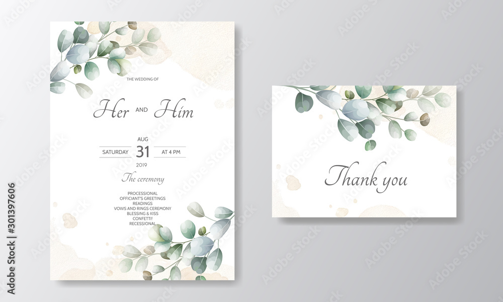 Fototapety, obrazy: wedding invitation card with Eucalyptus leaves template
