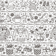 Holiday Background. Ugly Christmas Sweater Party. Vector Xmas Seamless Pattern. Hand Drawn Doodle Christmas Clothes, Gifts Boxes, Sweets, Gingerbread Cookies, Mulled Wine, Spice, Snowball