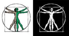 Vitruvian Man UFO Alien Hybrid Sketch Isolated Vector Illustration