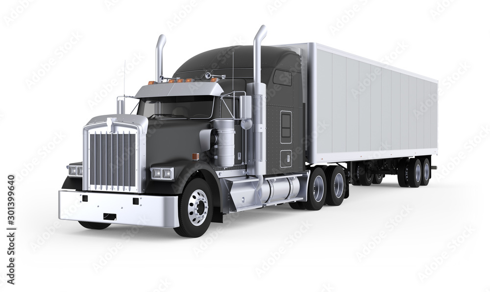 Fototapety, obrazy: Generic American sleeper semi truck with refrigerated semi trailer from the front left side, photo realistic isolated 3D illustration on the white background.