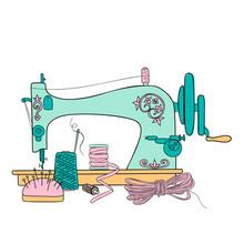 Vintage Sewing Machine Vector ...