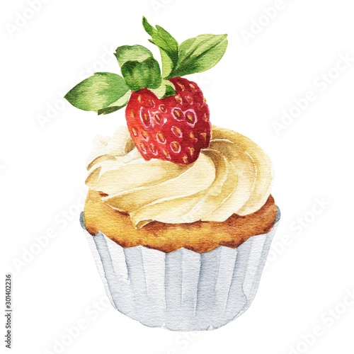 Hand drawn watercolor strawberry cupcake isolated on white background Canvas Print