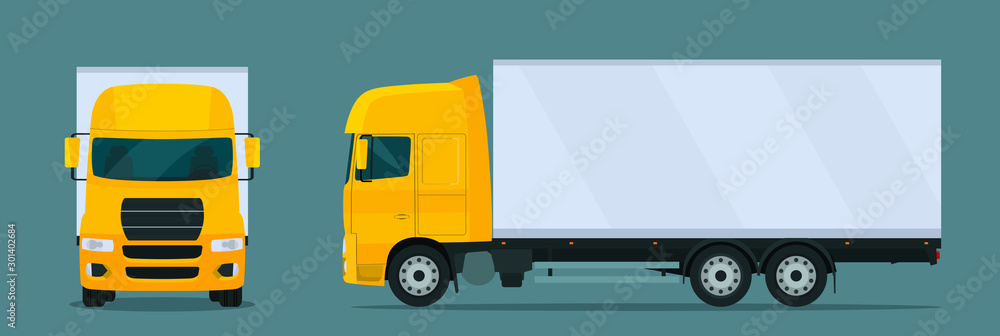 Fototapeta Сargo truck isolated. Сargo truck with side and front view. Vector flat style illustration.