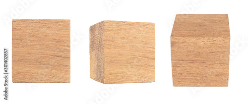 Obraz  Wood cube Isolated on white background, Brown cubic wood, with Clipping path. - fototapety do salonu