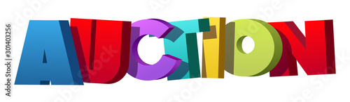 Photo Colorful illustration of Auction word