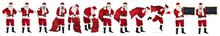 Traditional Classic Red Santa Claus Set Collection With  Various Poses Bullhorn Megaphone Jute Bag And Blackboard  Situations Funny Isolated White Background