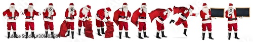 Photo  Traditional classic red santa claus set collection with  various poses bullhorn