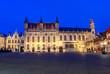 Leinwanddruck Bild Bruges City hall at Burg square at night, Belgium