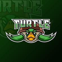 Green Turtle Ninja Mascot Gaming Logo Design Tempate For Team