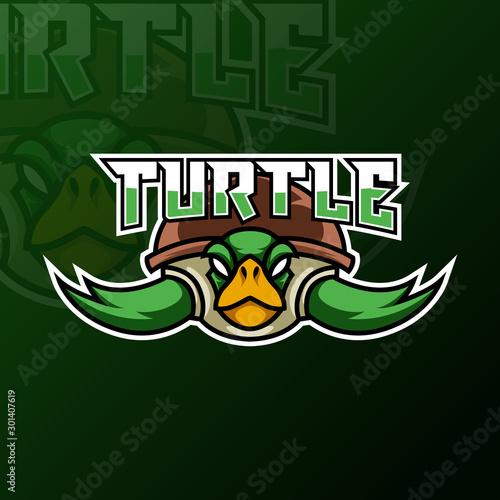 Fototapeta Green turtle ninja mascot gaming logo design tempate for team