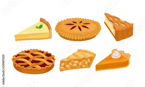 Fényképezés Homemade Cartoon Pies And Cakes With Fruits And Cream Vector Illustration Set Is