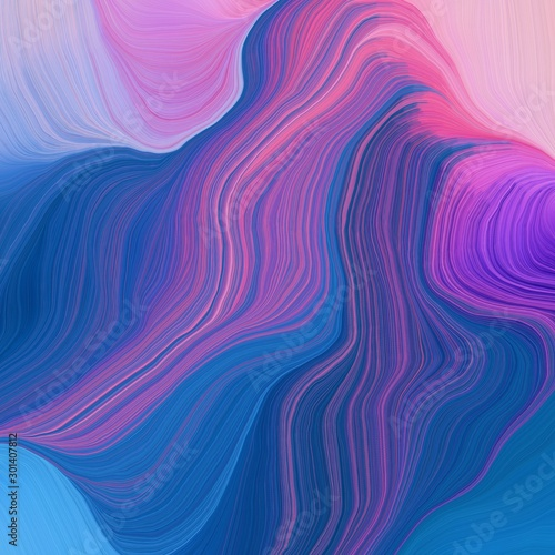 Tuinposter Abstract wave quadratic graphic illustration with strong blue, pastel violet and moderate violet colors. abstract design swirl waves. can be used as wallpaper, background graphic or texture