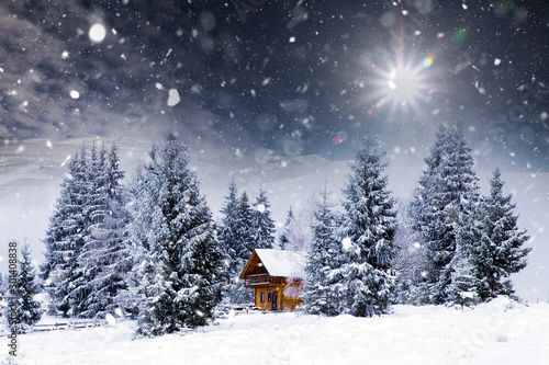 Slika na platnu Wooden cottage in a fairy-tale winter landscape.