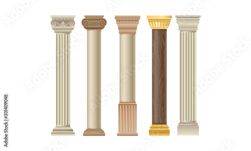 Cuadros en Lienzo  Set Of Various Types Of Different Columns Vector Illustration